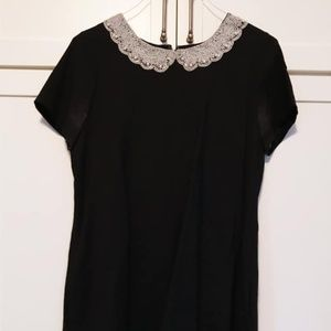 Kate Spade black dress with pearl collar